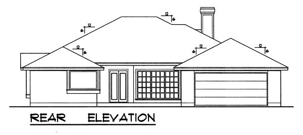 Traditional , Rear Elevation of Plan 77757