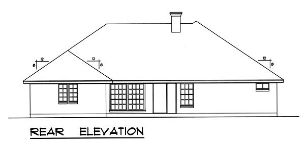 Traditional House Plan 77758 with 4 Beds, 3 Baths, 2 Car Garage Rear Elevation