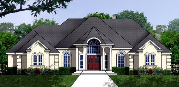 Traditional House Plan 77762 with 3 Beds , 2 Baths , 2 Car Garage Elevation
