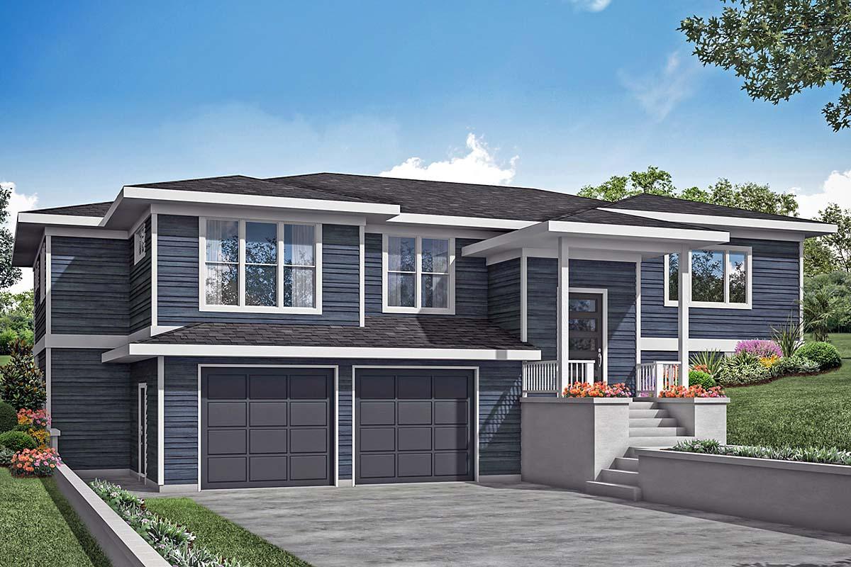 Contemporary, Modern, Prairie House Plan 78400 with 3 Beds, 3 Baths, 2 Car Garage Elevation