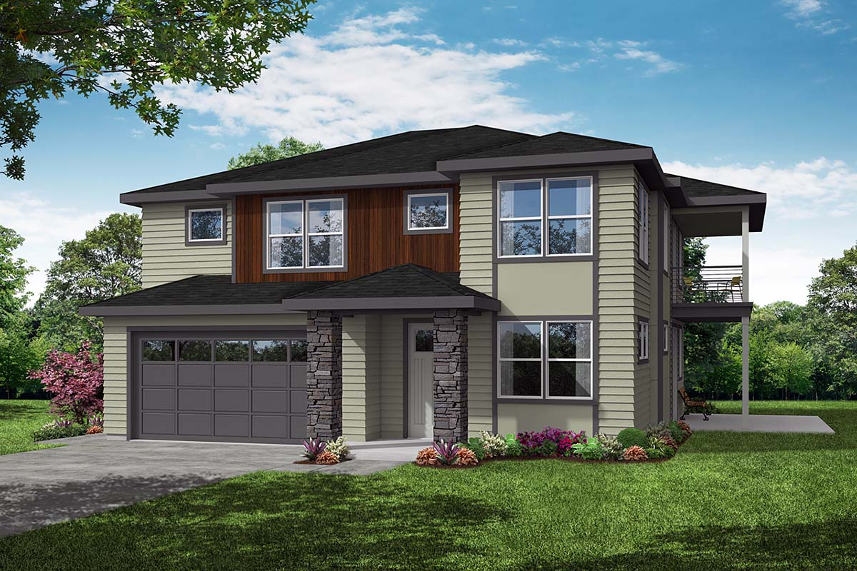 Contemporary, Craftsman, Prairie House Plan 78402 with 3 Beds, 3 Baths, 2 Car Garage Elevation