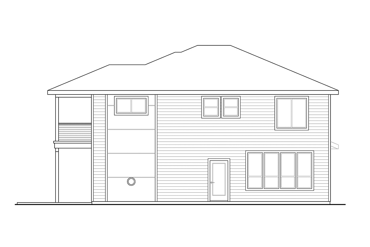 Contemporary, Craftsman, Prairie House Plan 78402 with 3 Beds, 3 Baths, 2 Car Garage Rear Elevation