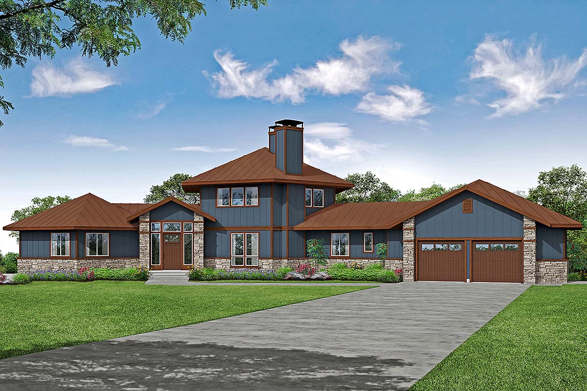 Cabin, Contemporary, Craftsman House Plan 78403 with 3 Beds, 4 Baths, 2 Car Garage Elevation