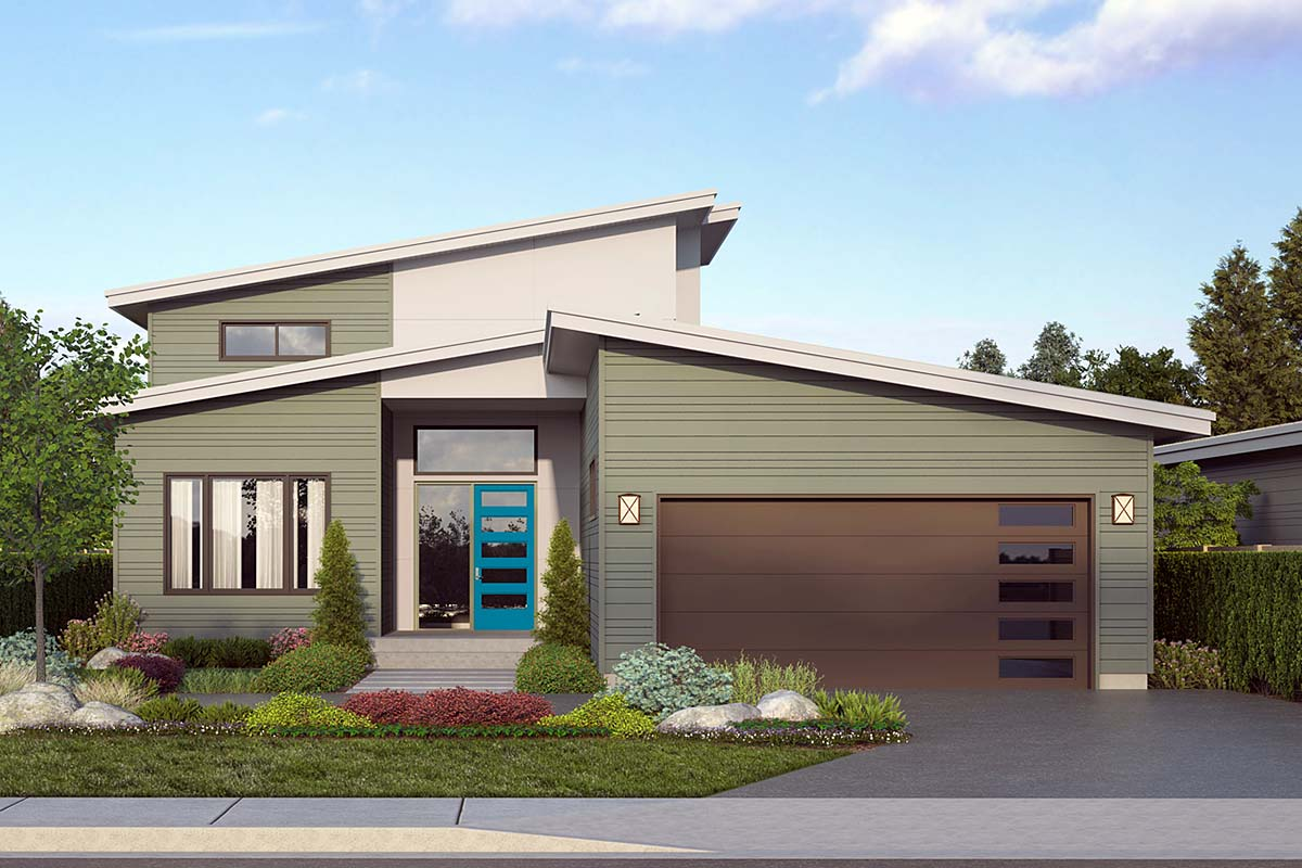 Contemporary House Plan 78404 with 3 Beds, 3 Baths, 2 Car Garage Elevation