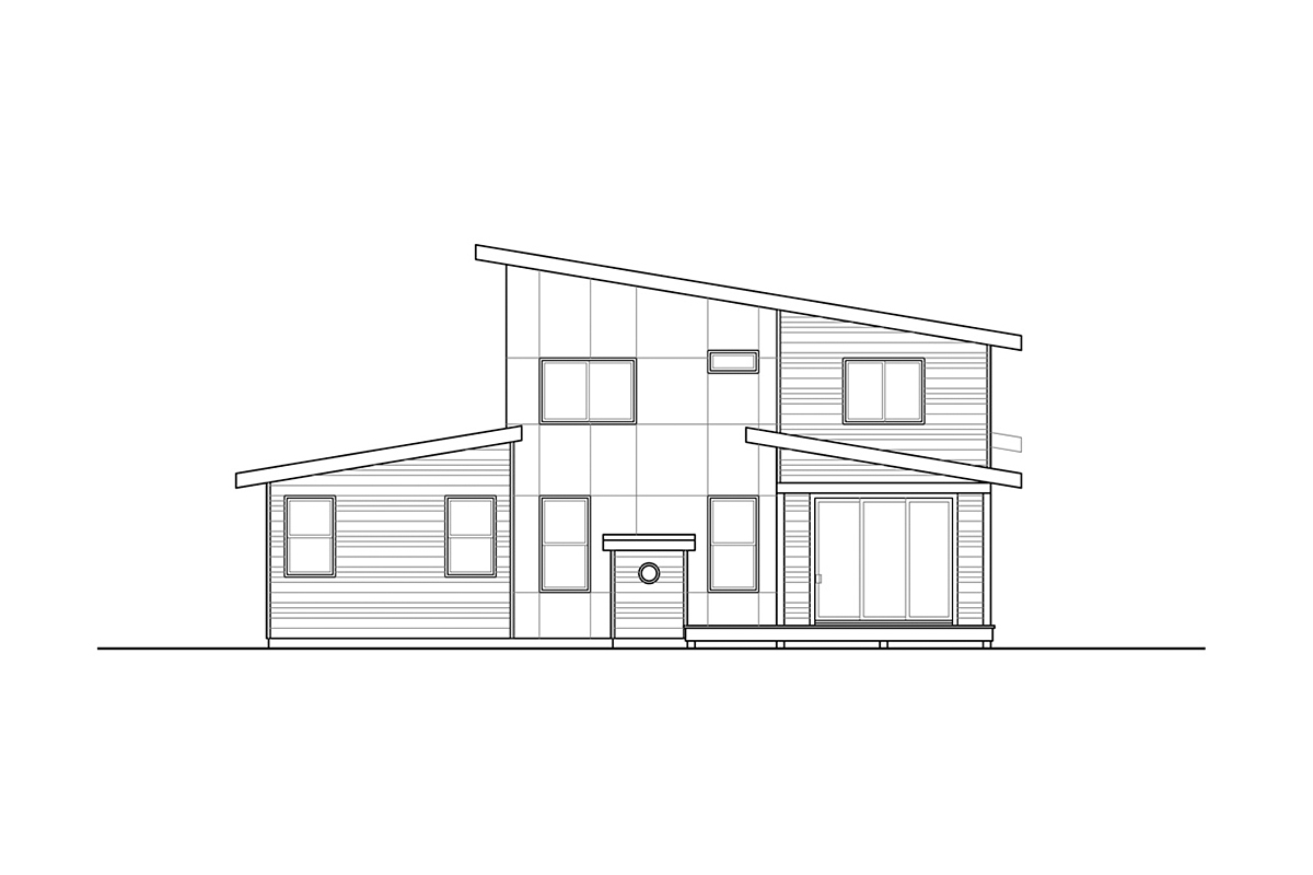 Contemporary House Plan 78404 with 3 Beds, 3 Baths, 2 Car Garage Rear Elevation