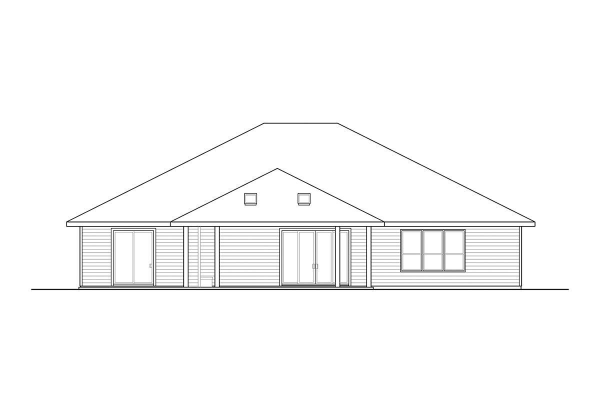 Prairie, Ranch, Traditional House Plan 78406 with 3 Beds, 4 Baths, 2 Car Garage Rear Elevation