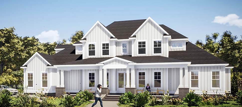 Farmhouse House Plan 78503 with 5 Beds, 4 Baths, 3 Car Garage Elevation