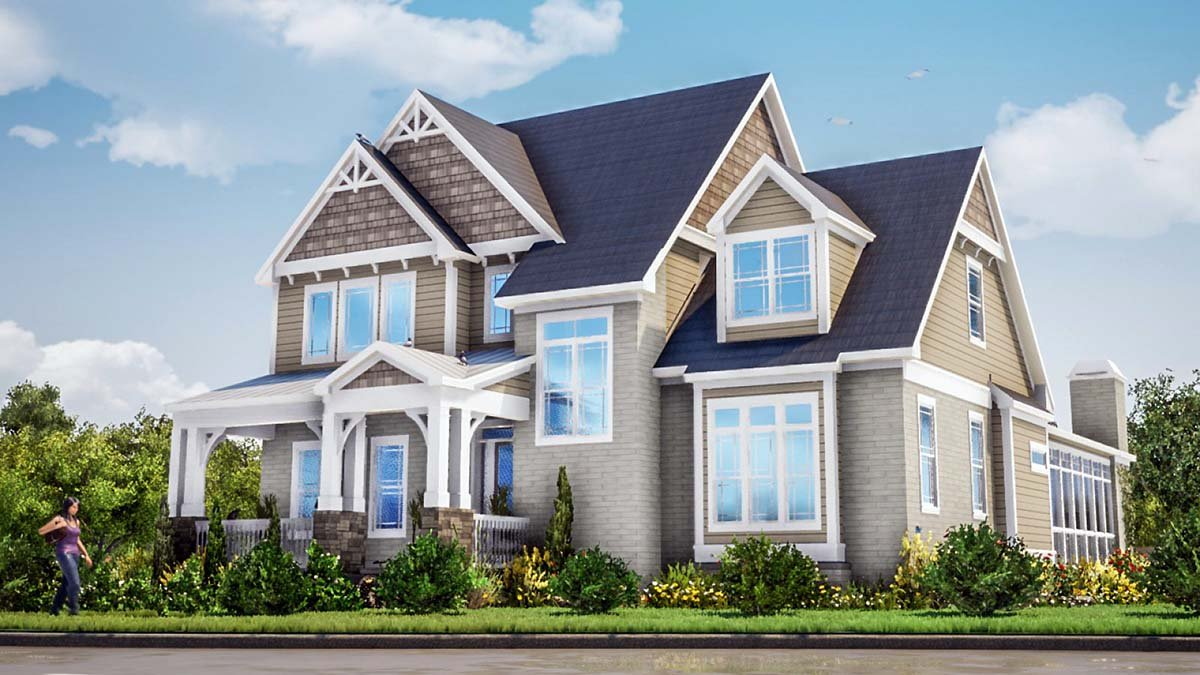Farmhouse, Traditional House Plan 78505 with 3 Beds, 5 Baths, 2 Car Garage Picture 1