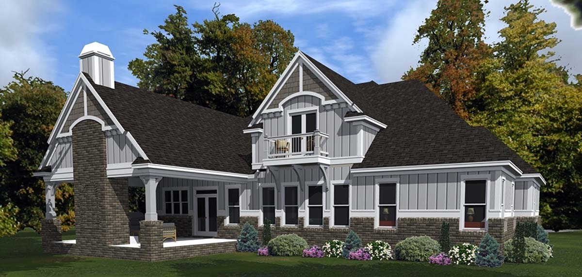 Bungalow, Craftsman, European House Plan 78514 with 4 Beds, 3 Baths, 2 Car Garage Rear Elevation