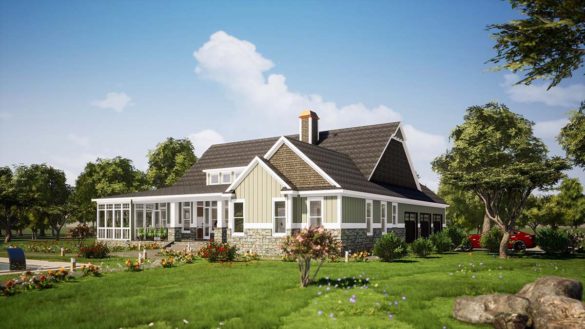 Farmhouse, Traditional House Plan 78515 with 3 Beds, 3 Baths, 3 Car Garage Picture 2