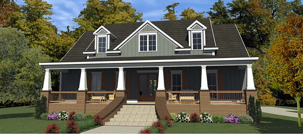 Country, Farmhouse, Southern House Plan 78520 with 3 Beds, 3 Baths, 3 Car Garage Elevation