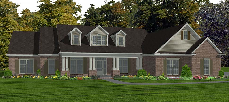 Country, Farmhouse, Traditional House Plan 78525 with 4 Beds, 4 Baths, 2 Car Garage Elevation