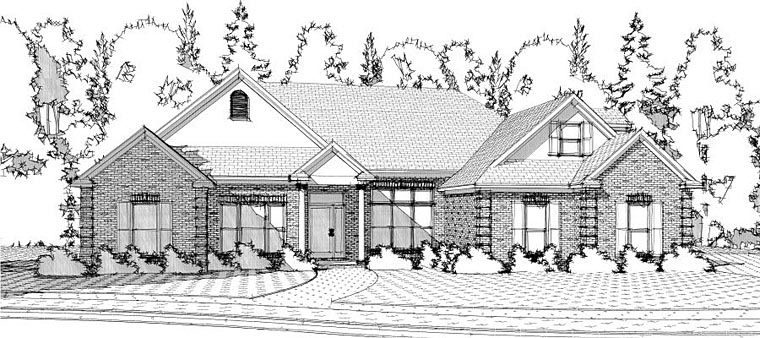 Traditional House Plan 78611 with 4 Beds, 4 Baths, 2 Car Garage Elevation