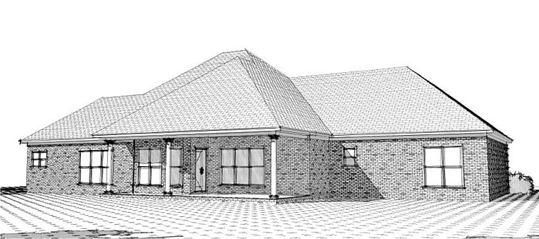 European House Plan 78618 Rear Elevation