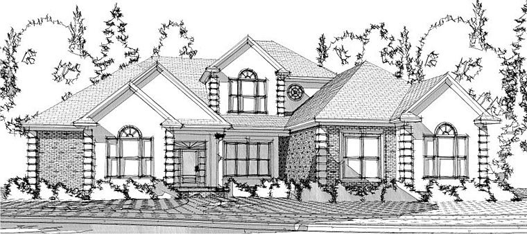 European House Plan 78630 with 4 Beds, 4 Baths, 3 Car Garage Front Elevation