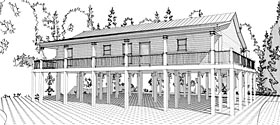 Cabin Coastal House Plan 78631 Elevation