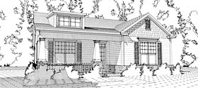House Plan 78637 | Bungalow Cottage Craftsman Style Plan with 1367 Sq Ft, 2 Bed, 2 Bath, 2 Car Garage Elevation