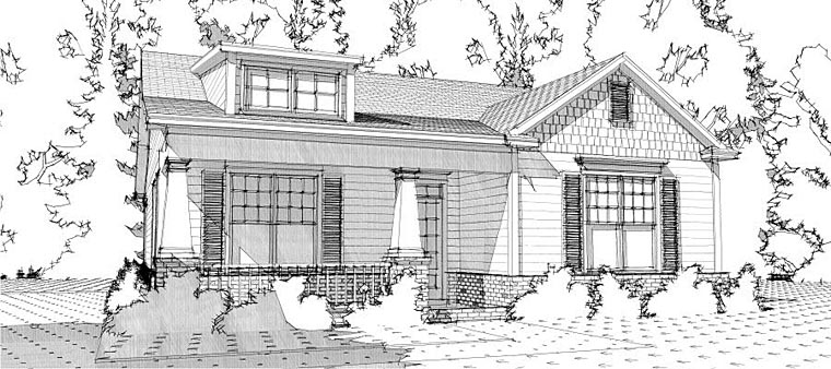 Bungalow, Cottage, Craftsman House Plan 78637 with 2 Beds , 2 Baths , 2 Car Garage Elevation