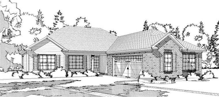 Traditional House Plan 78645 with 3 Beds, 2 Baths, 2 Car Garage Elevation