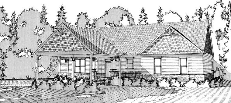 Cottage, Country, Craftsman House Plan 78648 with 4 Beds, 4 Baths, 2 Car Garage Rear Elevation