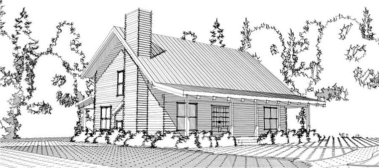 Cabin Country Log House Plan 78649 Elevation
