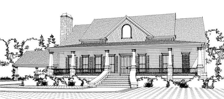 Colonial , Craftsman , Southern , Elevation of Plan 78651