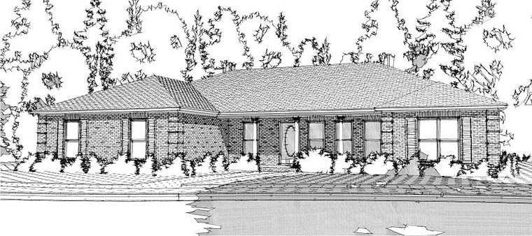 Ranch Traditional Elevation of Plan 78653
