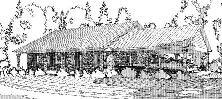 Colonial, Country, Ranch House Plan 78655, 3 Car Garage Elevation