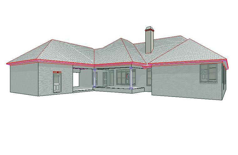 Traditional House Plan 78705 with 4 Beds, 3 Baths, 3 Car Garage Rear Elevation