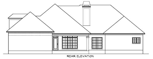 European House Plan 78721 with 3 Beds, 3 Baths, 2 Car Garage Rear Elevation