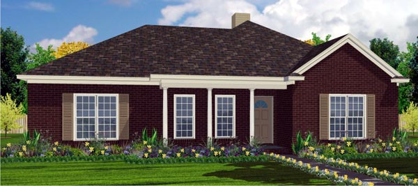 House Plan 78743 | Contemporary Style Plan with 1634 Sq Ft, 4 Bedrooms, 2 Bathrooms, 2 Car Garage Elevation