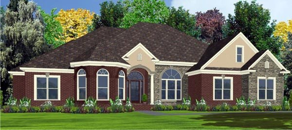 Contemporary House Plan 78749 with 4 Beds, 3 Baths, 2 Car Garage Elevation
