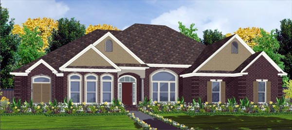 European House Plan 78788 with 4 Beds , 3 Baths , 2 Car Garage Elevation