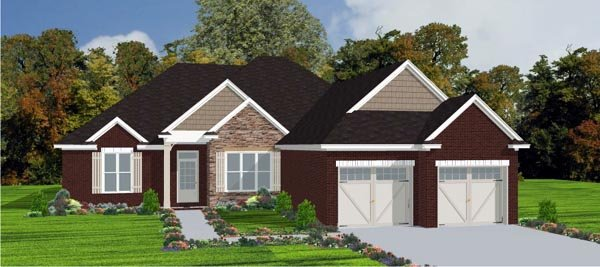 House Plan 78829 | European Style Plan with 1958 Sq Ft, 3 Bedrooms, 2 Bathrooms, 2 Car Garage Elevation