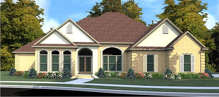 House Plan 78869 | European Traditional Style Plan with 2226 Sq Ft, 3 Bedrooms, 3 Bathrooms, 2 Car Garage Elevation