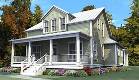 Colonial Country Southern House Plan 78884 Elevation