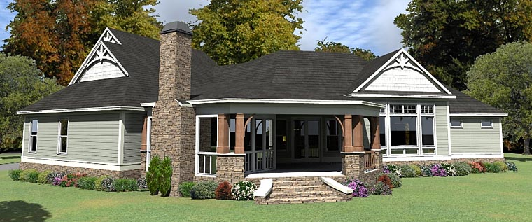 Country Craftsman House Plan 78895 Rear Elevation