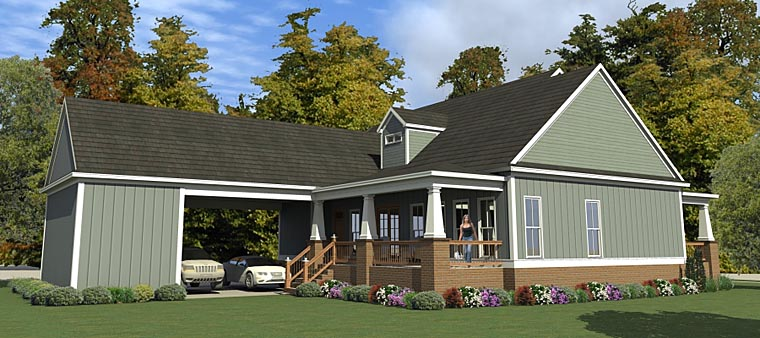 Bungalow Country Craftsman House Plan 78896 Rear Elevation
