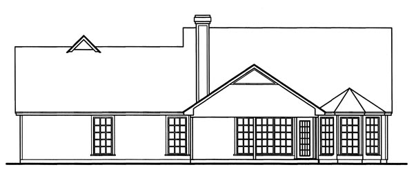 Country Rear Elevation of Plan 79007