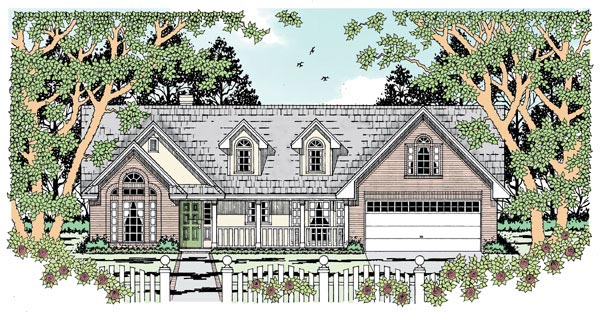 Traditional House Plan 79010 with 3 Beds, 2 Baths, 2 Car Garage Elevation