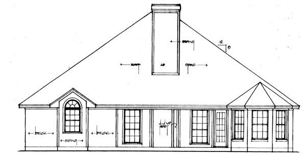 European House Plan 79028 with 4 Beds, 2 Baths, 2 Car Garage Rear Elevation