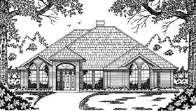 European House Plan 79033 with 3 Beds, 2 Baths, 2 Car Garage Elevation