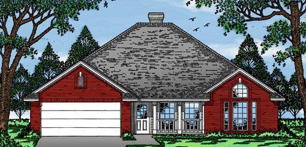 European House Plan 79058 with 3 Beds, 2 Baths, 2 Car Garage Elevation