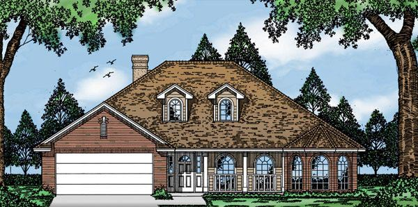 European House Plan 79059 with 3 Beds, 2 Baths, 2 Car Garage Elevation