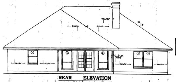 European House Plan 79067 with 3 Beds, 2 Baths, 2 Car Garage Rear Elevation