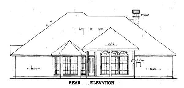 European House Plan 79069 Rear Elevation
