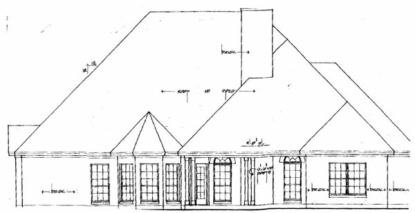 European Tudor House Plan 79076 Rear Elevation