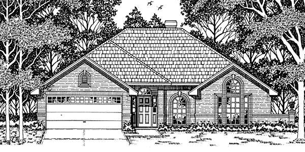 House Plan 79107 | European Style Plan with 1601 Sq Ft, 3 Bedrooms, 2 Bathrooms, 2 Car Garage Elevation
