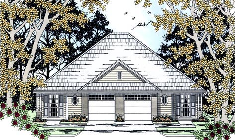 Country Multi-Family Plan 79110 with 6 Beds, 4 Baths, 2 Car Garage Elevation