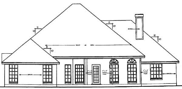 European House Plan 79120 Rear Elevation